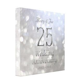 25. Hochzeitstag silberne Bokeh Typografie Leinwanddruck
