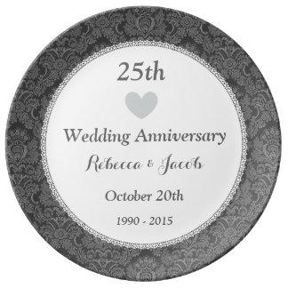 25. Hochzeitstag-silberner Damast W25D Porzellanteller