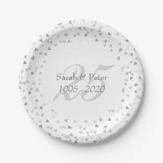 25. Hochzeitstag-silberner HerzenConfetti Pappteller 17,8 Cm