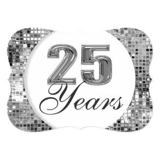 25 Jahre silberner Jahrestags-elegante Einladungs- 12,7 X 17,8 Cm Einladungskarte