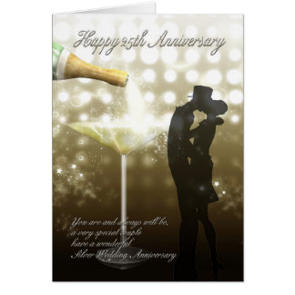 25. Jahrestag - Champagne Karte