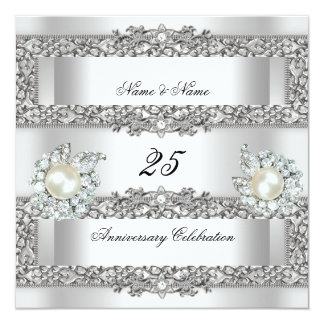 25. Jahrestags-elegante weiße silberne Quadratische 13,3 Cm Einladungskarte