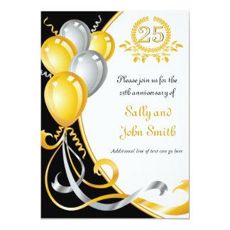 25. Jahrestags-Gold-u. 12,7 X 17,8 Cm Einladungskarte