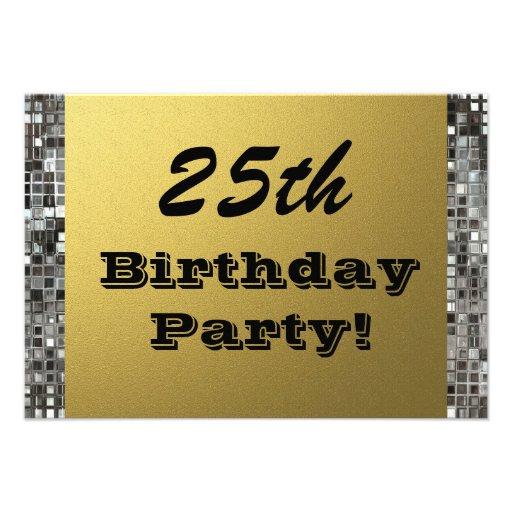25., jedes mögliches Alters-Geburtstags-Party-Gold Ankündigung