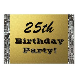 25., jedes mögliches Alters-Geburtstags-Party-Gold 8,9 X 12,7 Cm Einladungskarte
