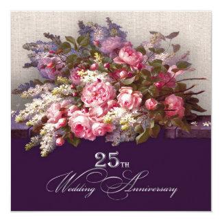 25. Silberne Hochzeits-Jahrestags-Party Quadratische 13,3 Cm Einladungskarte