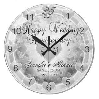 25. Silberne Hochzeitstag-Herzen Uhren