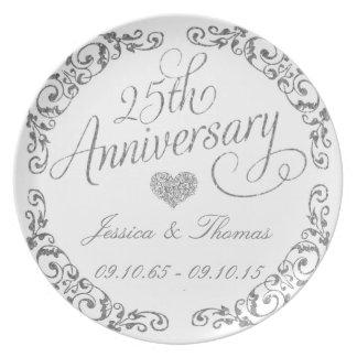 25. Silberner Hochzeitstag-dekorative Platte Party Teller