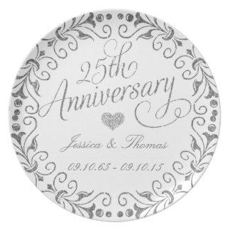 25. Silberner Hochzeitstag-dekorative Platte Teller