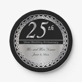 25. Silberner Hochzeitstag Pappteller