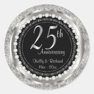 25. Silberner Hochzeitstag Runder Aufkleber