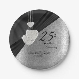 25. Silberner und schwarzer Hochzeitstag Pappteller