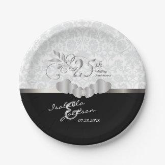 25. Silberner und weißer Hochzeitstag Pappteller