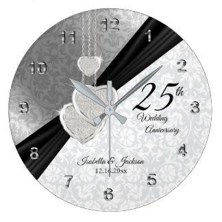 25. Silbernes Hochzeitstag-Andenken Große Wanduhr