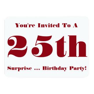 25. Überraschungs-Geburtstags-Party laden, Rot und Individuelle Ankündigungen