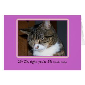 29 wieder? Geburtstags-Karte mit Foto einer Katze  Grußkarte