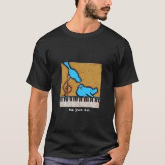 2 Drosseln auf Klavier-T - Shirt