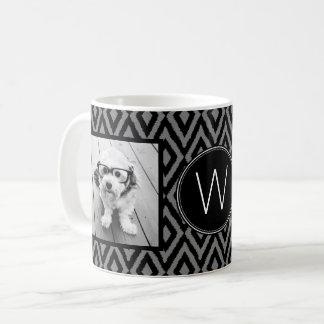 2 Foto-Collage - schwarzes graues Ikat und Kaffeetasse