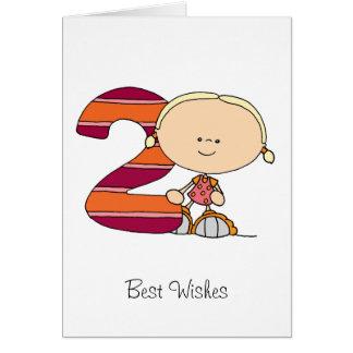 2. Geburtstag - Gruß-Karte - Mädchen