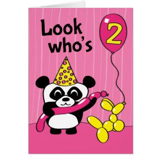 2. Geburtstag - Mädchen-Panda mit Ballonen Grußkarte
