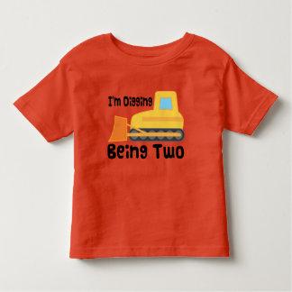 2. Geburtstags-Planierraupen-Bau-LKW-Kleinkind Kleinkinder T-shirt