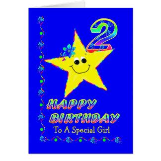 2. Geburtstags-Stern für Mädchen Grußkarte