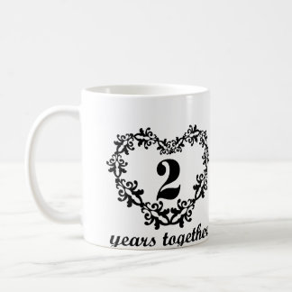 2. Jahrestag 2 Jahre zusammen Kaffeetasse