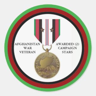 2 KAMPAGNEN-STERN-AFGHANISTAN-KRIEGSVETERAN RUNDE AUFKLEBER