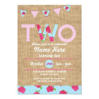 2. Rose des Geburtstags-Tee-Party-zwei der 12,7 X 17,8 Cm Einladungskarte