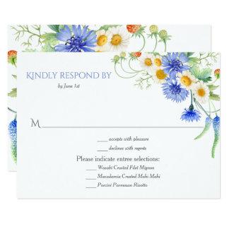 #2Blue gelbe Watercolor-Wildblumen, die RSVPs 8,9 X 12,7 Cm Einladungskarte