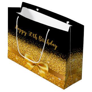 30. Geburtstag auf Schwarzem mit Goldbogenschein Große Geschenktüte