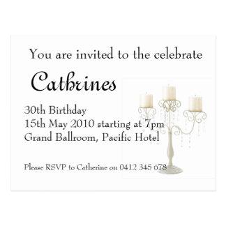 30. Geburtstag candelabre Einladung Postkarte