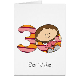 30 Geburtstag - Gruß-Karte - Mädchen