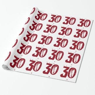 30. Geburtstag, roter Text auf Weiß Geschenkpapierrolle