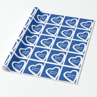 30. Geburtstag, weiße Herzen auf Blau, Geschenkpapier