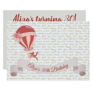 30. Geburtstags-Heißluft-Ballon Karte