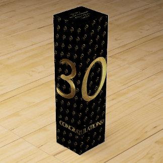 30. Geburtstags-Hochzeitstag-Schwarzes und Gold Weinbox