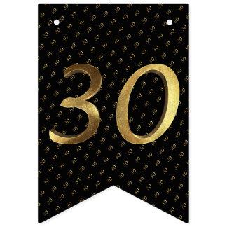 30. Geburtstags-Hochzeitstag-Schwarzes und Gold Wimpelketten