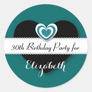 30. Geburtstags-Party-aquamarine und schwarze Runder Aufkleber