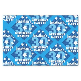 30. Geburtstags-Party-blaue Stern-individueller Seidenpapier