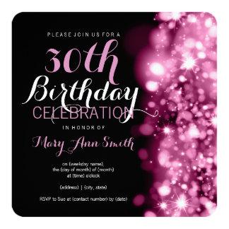 30. Geburtstags-Party-rosa funkelnde Lichter Quadratische 13,3 Cm Einladungskarte