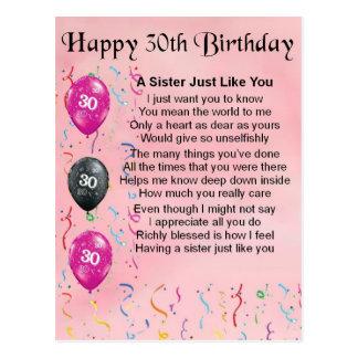 30. Geburtstags-Schwester-Gedicht Postkarte