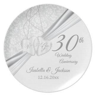 30. Hochzeitstag-Andenken-Entwurf Teller