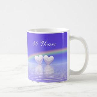 30. Jahrestags-Perlen-Herzen Tasse