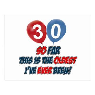 30. Jahrgeburtstagsentwürfe Postkarte