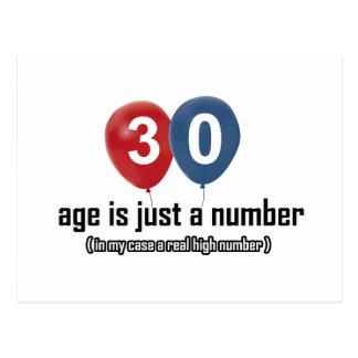 30 Jähriges nichts aber eine Zahl entwirft Postkarte