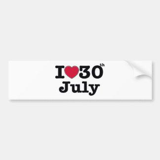 30. Juli mein Tag des Geburtstages Autoaufkleber