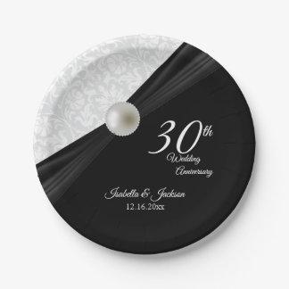 30. Perle u. schwarzer Hochzeitstag-Entwurf Pappteller