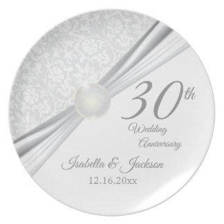 30. Perlen-Hochzeitstag-Andenken-Entwurf Teller