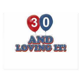 30 und Lieben es Postkarte